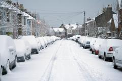 Snowy street Stock Photos