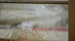 Broken Window with Focus Shift Stock Footage