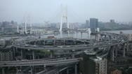 Busy Freeway Aerial View Shanghai Skyline Nanpu Bridge Interchange Huangpu River Stock Footage