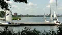 Yacht club Boston Charles river Stock Footage