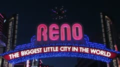 1440 Reno Neon Sign Stock Footage