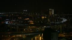 Night Aerial View of Shanghai, China, Nanpu Bridge Interchange, Huangpu River - stock footage