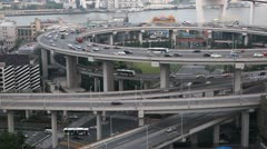 Busy City Highway Street Freeway, Nanpu Bridge Interchange, Aerial View Shanghai - stock footage