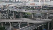 Busy City Highway Street Freeway, Nanpu Bridge Interchange, Aerial View Shanghai Stock Footage
