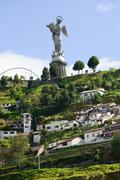 Monument Of La Virgin De Panecillo Located In Quito Hills Ecuador Stock Photos