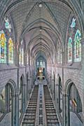 High Dynamic Range Of Basilica Del Voto Nacional Interior In Quito - stock photo