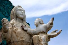 Mirador De La Virgin Impressive Monument In Banos Ecuador - stock photo