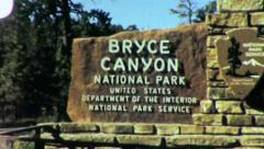 BRYCE CANYON National Park Entrance Sign 1960s Vintage Film Home Movie 4886 Stock Footage