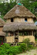 Typical Jungle Lodge Made Of Bamboo In Ecuadorian Jungle - stock photo