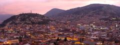 Historic Center Of Quito Panorama By Night Stock Photos