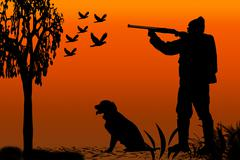 Hunter and canine silhouette Stock Illustration