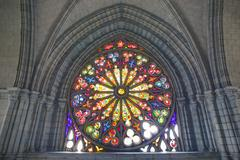 Stained Glass Window In Basilica Del Voto Nacional Quito Ecuador - stock photo