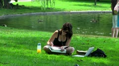 Beautiful college student Boston; HD 1080 24p Stock Footage