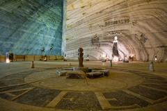 Deep Underground Salt Mine Approx 500M Deep Huge Salt Excavation Mine Large Hall - stock photo