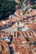 Aerial View Of Brasov Old City Center Very Beautiful Romanian Touristic Site Stock Photos