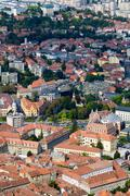 Aerial View Of Brasov Romania Old City Center - stock photo