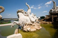 Stock Photo of Antoinette Fountain Detail Marble Sculpted Rider Wide Angle Shot Daylight White