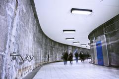 Underground Grunge metro corridor - rush hour Stock Photos