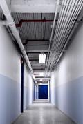 Long Blue Corridor - stock photo
