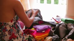 Preparing bag for travel Stock Footage