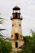Remains Of An Old Lighthouse In Sulina Danube Delta Romania Medium Telephoto - stock photo