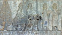 Ancient bas-reliefs of persepolis, iran Stock Photos