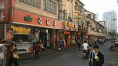 Chinese People Nanjing Road Shanghai, China, Henan, Pedestrian Shopping Street Stock Footage