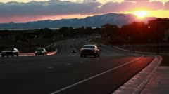 Sunset Over Layton Parkway with Light Traffic Stock Footage