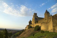 Carcassonne in golden sunlight - stock photo
