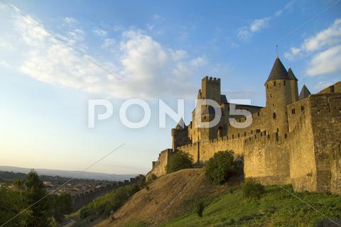 Stock photo of Carcassonne in golden sunlight