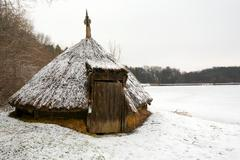 Romanian Traditional Wood Hut Covered With Reed - stock photo