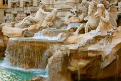 Famous Trevi Fountain In Sunset Light Rome Italy Stock Photos