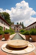 Interior Garden Of Alhambra Fortress In Granada South Of Spain - stock photo
