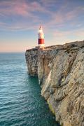 High Ground Trinity Lighthouse Of Gibraltar Beaconing In The Sunset Stock Photos
