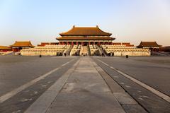 The three great halls palace. forbidden city. beijing, china Stock Photos