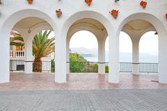 Beautiful Architectural Feature In Nerja Spain Also Known As Balcony De Europa - stock photo