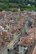 Aerial View Of An Old Street In Bern Switzerland - stock photo
