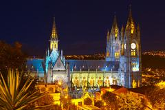 Basilica Of National Vote By Night Quito Ecuador - stock photo