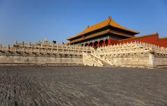 the three great halls palace. forbidden city. beijing. china - stock photo