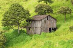 Abandoned Wood House In Ecuadorian Highlands - stock photo