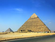 egypt pyramids in giza cairo - stock photo