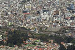 Ambato Ecuador Cityscape From High Point Of View Modern Cathedral In The Center Stock Photos