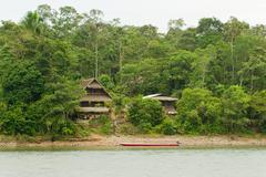 Typical Jungle Lodge In Amazonian Basin Usually They Are Made Out Of Bamboo And - stock photo