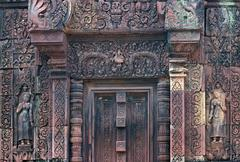 Stock Photo of stone carving .banteay srei temple. angkor. siem reap, cambodia.