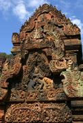 Stone carving .banteay srei temple. angkor. siem reap, cambodia. Stock Photos