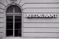 Restaurant Windows Along The Text Medium Telephoto Lens On Tripod Mounted Camera - stock photo