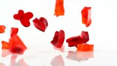Jello falling on the floor and bouncing, Slow Motion Stock Footage