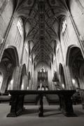 Black And White Cathedral Interior Low Angle View Stock Photos
