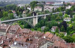 High Ground View Of Bern Major City Bridge - stock photo