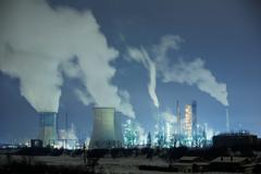 A Classic Example Of How Heavy Industry Pollute Our Atmosphere - stock photo